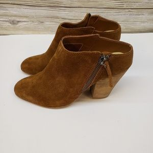 Dolce Vita Tan Suede Slip On Heeled Booties